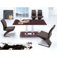Glass Dining Table Ice Chocolate with 4 D216 Chairs set