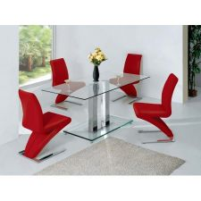 Glass Dining Table Ice Transparent with 4 D216 Chairs set