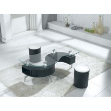 Shanghai - Black Coffee Table + 2 Stools