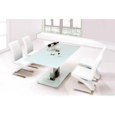 Glass Dining Table Ice Ivory with 6 D216 Chairs set