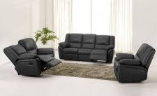 Leather Recliner Sofa 321 Suite Elan Black