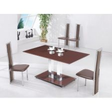 Glass Dining Table Ice CHOCOLATE with 4 D231 chairs set
