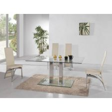 Glass Dining Table Ice with 6 D212 Chairs set