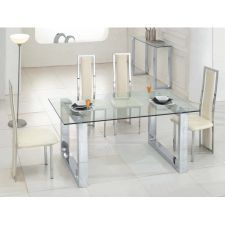 Glass Dining Table Molten Transparent + 6 D231 Chairs set