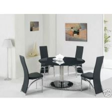 Round Glass Dining Table Large Ice Black + 6 x D212 chairs