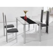 Trevero - Glass Trevero - Black Glass Dining Table + 6 D231 Chairs