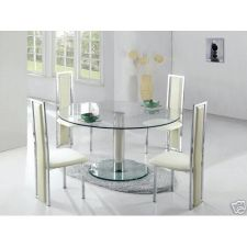 Round Glass Dining Table Large Ice Transparent + 6 x D231 Chairs