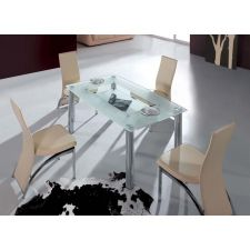 Big Compact - Frosted Glass Dining Table and 4 D212 Chairs