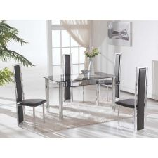 Big Compact - Transparent Glass Dining Table with 4 D231 chairs