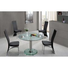 Round Transparent Glass Dining Table Small Ice + 4 x D212 chairs