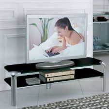 Glass plasma tv stand Erica Large Black