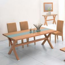 Wood dining set Harvard Frosted with 6 Matisse chairs