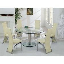 Round Glass Dining Table Large Ice Transparent + 6 x D212 chairs