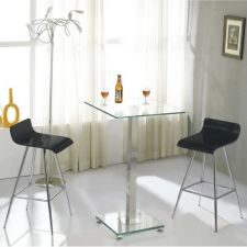 Glass bar set Ice Clear with 2 bar stool Wave