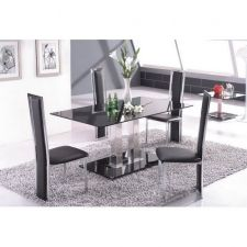 Glass Dining Table Ice BLACK with 4 D231 chairs set