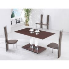 Glass Dining Set Ice Chocolate with 6 D231 Chairs