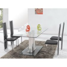 Glass Dining Set Ice Transparent with 6 D231 Chairs