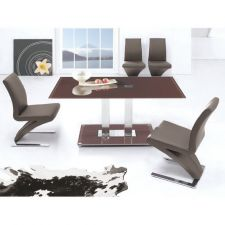 Glass Dining Table Ice Chocolate with 6 D216 Chairs set