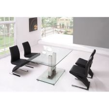Glass Dining Table Ice Transparent with 6 D216 Chairs set