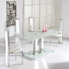 Glass Dining Set Ice Ivory with 6 D231 Chairs