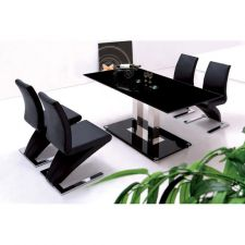 Glass Dining Table Ice Black with 6 D216 Chairs set