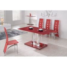 Glass Dining Set Ice Red with 6 Picasso Chairs