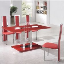 Glass Dining Table Ice RED with 4 D231 chairs set