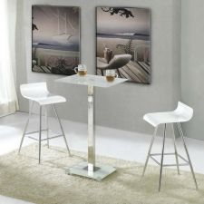 Glass bar set Ice White with 2 bar stool Wave FU-NICHA Genuine Brand