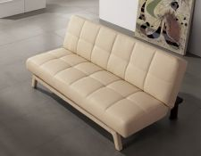 Faux Leather Sofabed Mariano 3 seater Cream