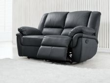 Leather Recliner Sofa 2 Suite Elan Black