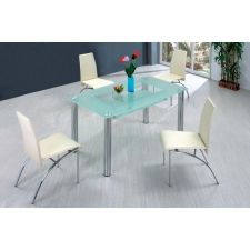 Big Compact - Transparent Glass Dining Table and 4 D211 Chairs