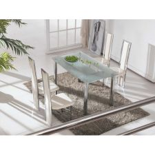 Big Compact - Frosted Glass Dining Table with 4 D231 chairs