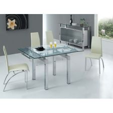 Extending Glass Dining Table Mini + 4 D211 Chairs set