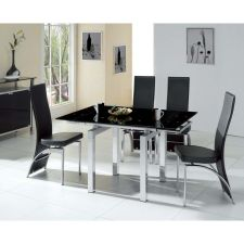 Extending Glass Dining Table Mini BLACK + 4 D212 Chairs set