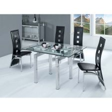 Extending Glass Dining Table Mini Transparent + 4 D215 Chairs set FREE DEL