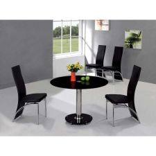 Round Black Glass Dining Table Small Ice + 4 x D212 chairs