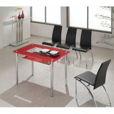 Small Compact - Red Glass Dining Table with 4 D211 Chairs