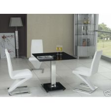 Square Glass Dining Table Black 4 x D216 chairs
