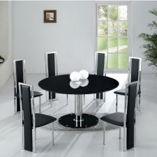 Round Glass Dining Table Large Ice Black + 6 x D231 Chairs