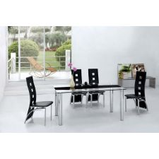 Trevero - Glass Dining Table + 6 x D215 Black chairs