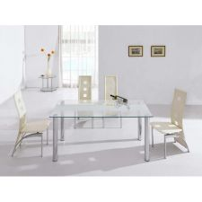Trevero - Glass Dining Table + 6 x D215 Cream chairs