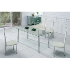 Trevero - Glass Trevero - Transparent Glass Dining Table + 6 D231 Chairs