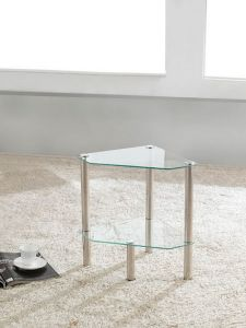 2 Tier Triangle Glass Stand Coffee Table Bathroom Clear
