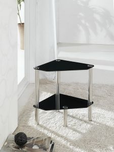 2 Tier Triangle Glass Stand Coffee Table Bathroom Black