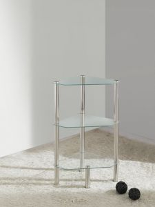 3 Tier Triangle Glass Stand Coffee Table Bathroom Clear