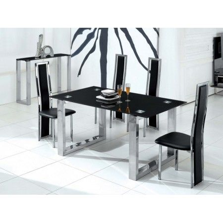 Glass Dining Table Molten Black + 6 D231 Chairs set