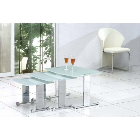 Scala - White Glass Nest of Tables