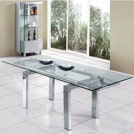 Extending Transparent Glass dining table Maxi