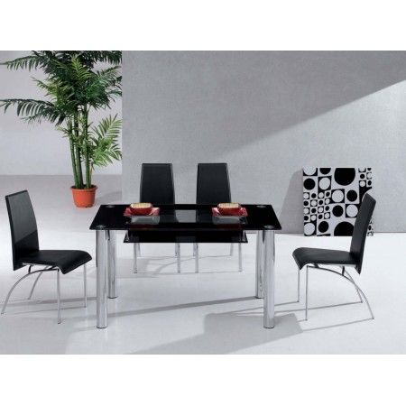 Big Compact - Black Glass Dining Table and 4 D211 Chairs