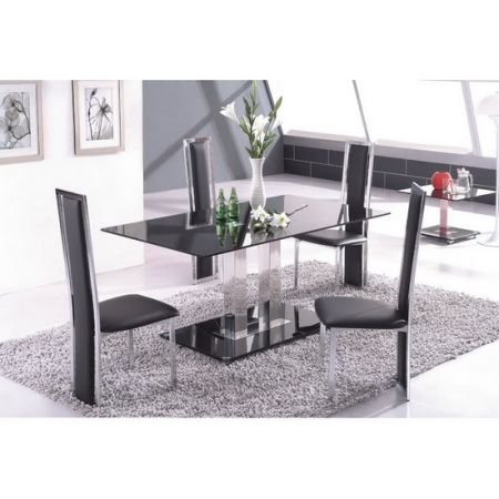 Glass Dining Set Ice Black with 6 D231 Chairs